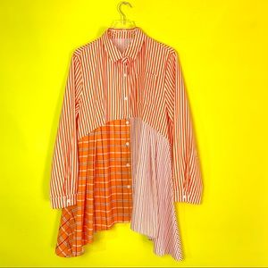 Tops - Orange Striped Plaid Hanky Button Up Tunic